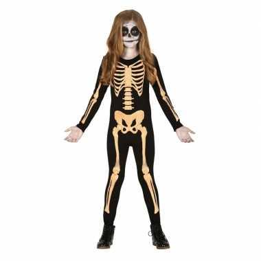 Zwart/oranje skelet pak voor kinderen carnavalskleding