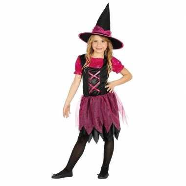 Zwart/roze heksen carnavalskleding voor meisjes