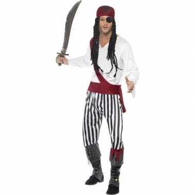 Zwart/wit piraten carnavalskleding voor heren