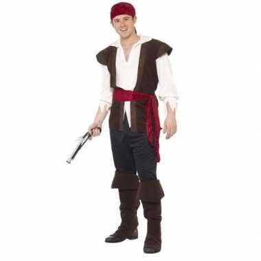 Zwart/wit/rood piraten carnavalskleding voor heren