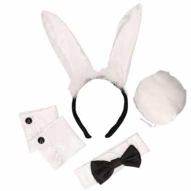 Zwart/witte playboy bunny carnavalskleding