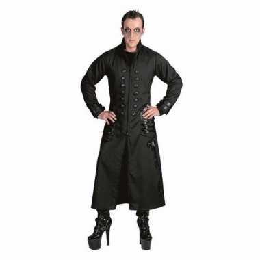 Zwarte gothic/vampier jas carnavalskleding voor heren