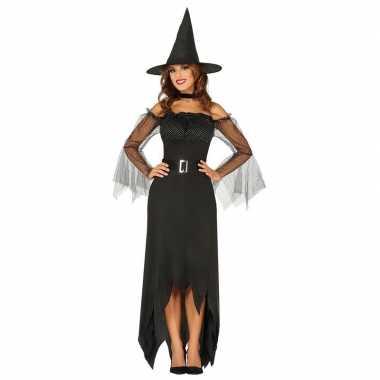 Zwarte lange heksen carnavalskleding voor dames