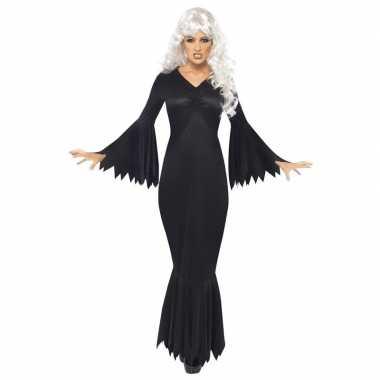 Zwarte lange heksen jurk carnavalskleding voor dames