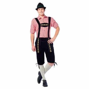 Zwarte lange lederhosen carnavalskleding voor heren