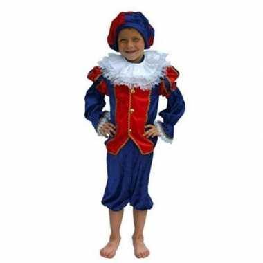 Zwarte piet carnavalskleding kind rood/blauw