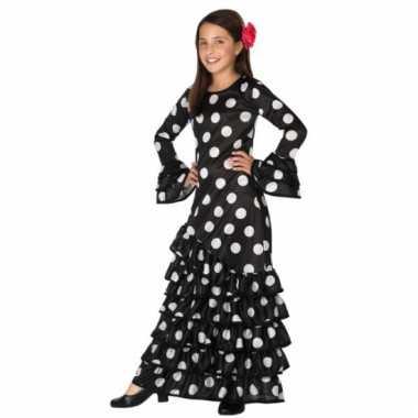 Zwarte spaanse kids carnavalskleding jurk