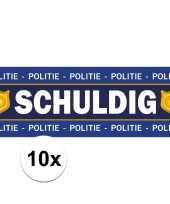 10 x schuldig stickers voor politie agent carnavalskleding