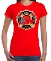 Brandweer logo t shirt carnavalskleding rood voor dames