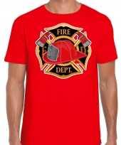 Brandweer logo t-shirt carnavalskleding rood voor heren