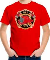 Brandweer logo t-shirt carnavalskleding rood voor kinderen