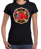 Brandweer logo t shirt carnavalskleding zwart voor dames