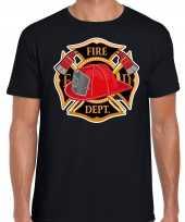 Brandweer logo t shirt carnavalskleding zwart voor heren