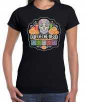 Day of the dead dag van de doden t-shirt carnavalskleding zwart voor dames