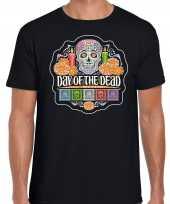 Day of the dead dag van de doden t-shirt carnavalskleding zwart voor heren