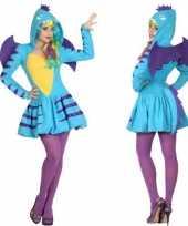Dierenpak blauwe draak carnavalskleding jurk voor dames