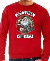 Foute kerstsweater carnavalskleding dont fuck with santa rood voor heren