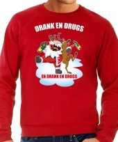Foute kerstsweater carnavalskleding drank en drugs rood voor heren