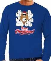 Foute kerstsweater carnavalskleding met hamsterende kat merry christmas blauw voor heren