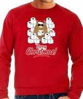 Foute kerstsweater carnavalskleding met hamsterende kat merry christmas rood voor heren