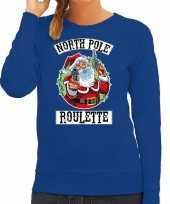 Foute kerstsweater carnavalskleding northpole roulette blauw voor dames