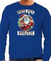 Foute kerstsweater carnavalskleding northpole roulette blauw voor heren