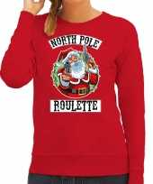 Foute kerstsweater carnavalskleding northpole roulette rood voor dames