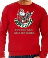 Foute kerstsweater carnavalskleding rambo but you can call me santa rood voor heren