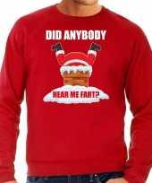 Grote maten foute kersttrui carnavalskleding did anybody hear my fart rood voor heren