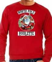 Grote maten foute kersttrui carnavalskleding northpole roulette rood voor heren