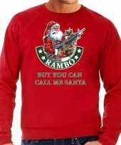 Grote maten foute kersttrui carnavalskleding rambo but you can call me santa rood voor heren