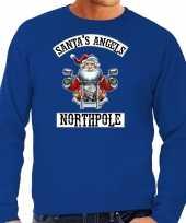 Grote maten foute kersttrui carnavalskleding santas angels northpole blauw voor heren