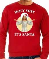 Holy shit its santa fout kerstsweater carnavalskleding rood voor heren