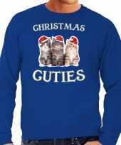 Kitten kerst sweater carnavalskleding christmas cuties blauw voor heren