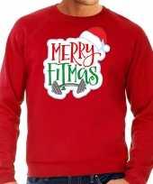 Merry fitmas kerstsweater carnavalskleding rood voor heren