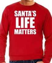 Santas life matters kerst sweater kerst carnavalskleding rood voor heren