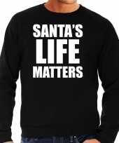Santas life matters kerst sweater kerst carnavalskleding zwart voor heren